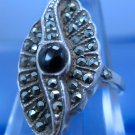 sz 6.5 Ring : Vintage sterling 925 silver Art Deco Marcasite w/ Onyx Center