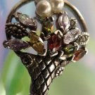 Vintage Sterling Silver Basket of Flowers Brooch w/ Pearls and Gemstones Pin