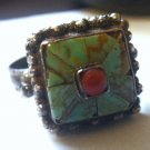 Sz 7 Ring : Hand Crafted Turquoise Coral And Silver Unique Unmarked