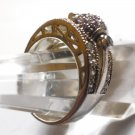 sz 9 Sterling Pave Ring Pink Pave Disco Ball Spins White Pave Setting SIGNED PJM