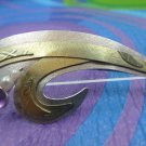 Brooch 925 Sterling & Gold 18k : By Modernist Designer K Dance Amethyst & Pearls