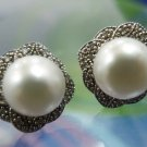 Post Earrings : Sterling 925 Silver E.A. China - Pearls & Sparkling Chips