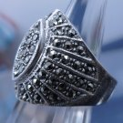 sz 5.5 Ring: Sterling Silver 925 Pave in Marcasite - None Missing - Signed NF