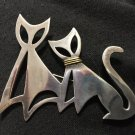 Vintage Taxco Mexico Art Deco Sterling Cats Abstract Pendant Signed TM-161