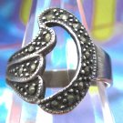 """sz 7 Art Deco Marcasite & Sterling Silver Ring Shaped Like the Initial """"D"""""""