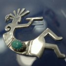 Tribal Fertility Pendant : sterling KOKOPELLI Flute Player Dancer w/ Turquoise