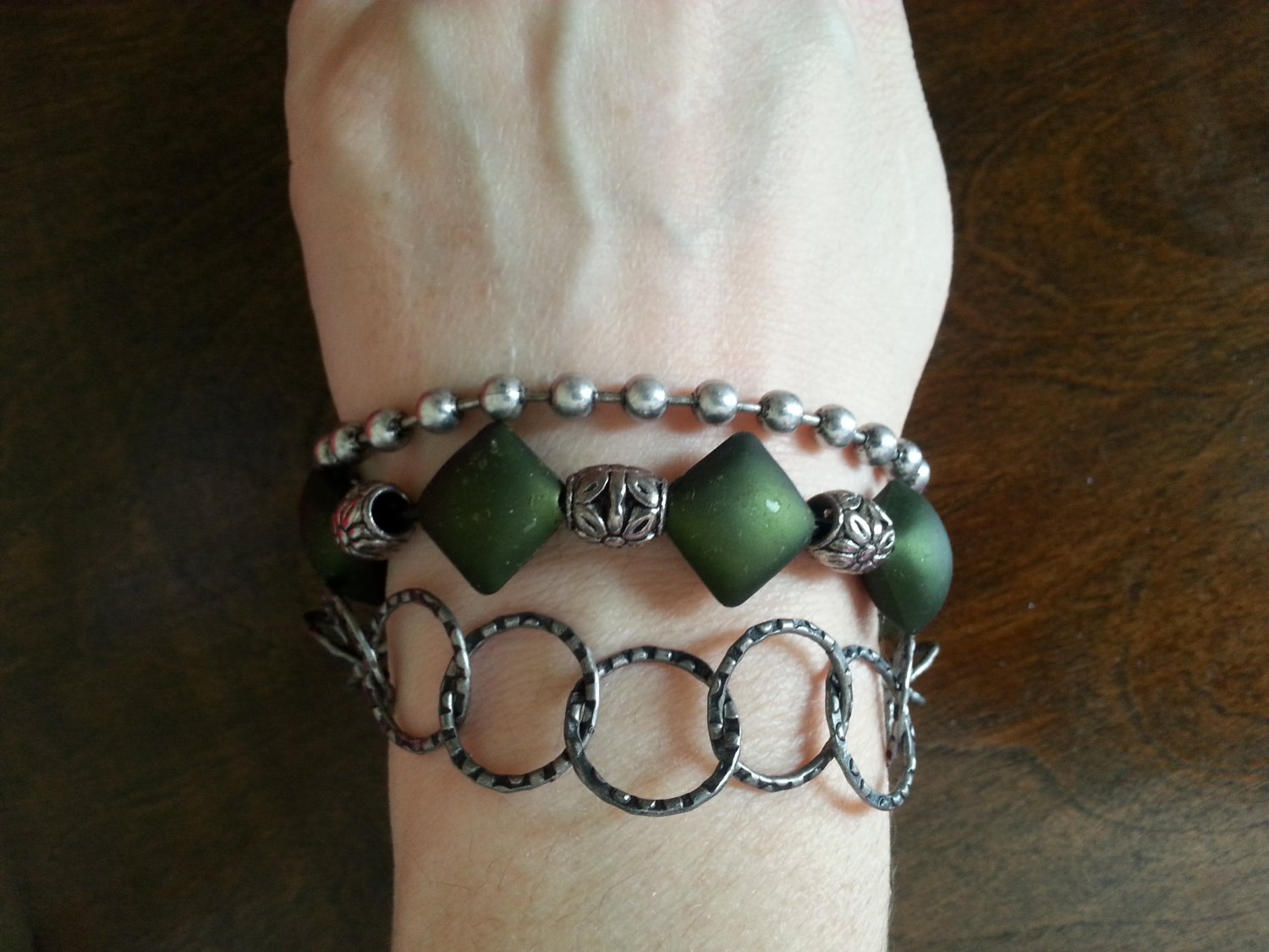 Silver and Green Tribal Bracelet,