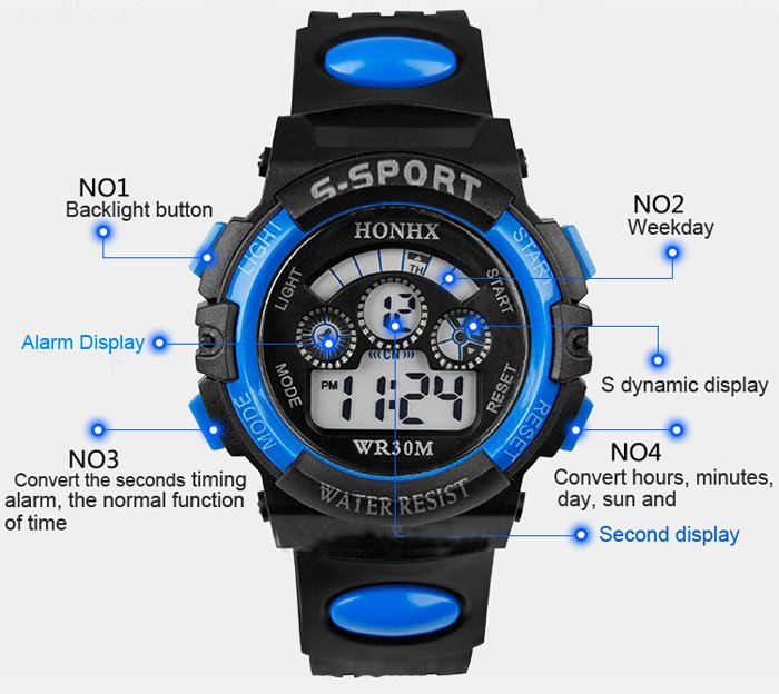Sports Watches Men Luminous Digital Watch Digital wristwatches Blue