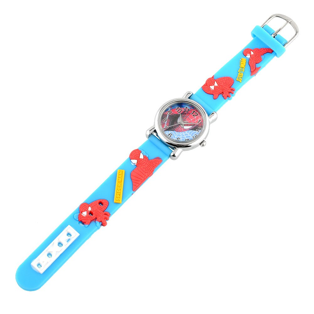 Fashion Rubber Blue Cartoon Child Boys Kid Chilren Analog Quartz Spider Man Marvel Wrist Watch