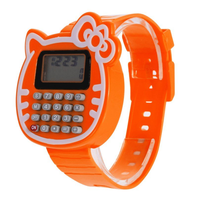 Orange Clock Girls Digital LED Watch Silicone Sports Date Multifunction Kids Calculator Wrist Watch