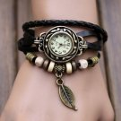 Womens Bracelet Weave Wrap Quartz Leather Leaf Beads Wrist Watches