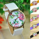 Leather WristWatch For Women Men New Rose Flower Watch Quartz Watches Sports Watches