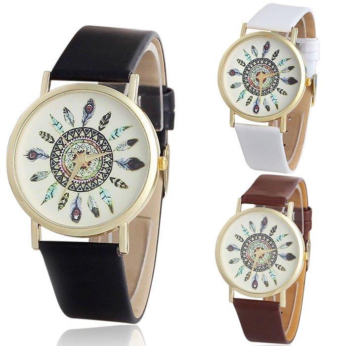 Vintage Feather Analog Unique Dial Leather Band Quartz Wrist Watches