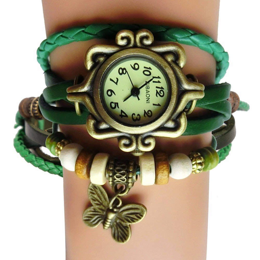 Antique Vintage Women Wrist Watch Butterfly Pendant Synthetic Leather Strap Leather Bracelet
