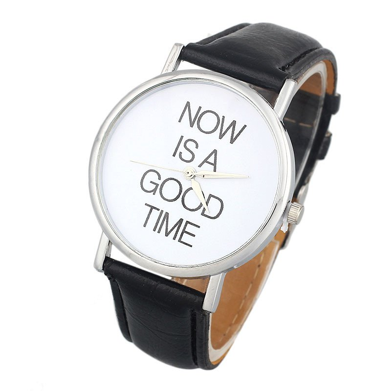 New Design NOW IS A GOOD TIME Women PU Leather Band Analog Quartz Dial Wrist Watch