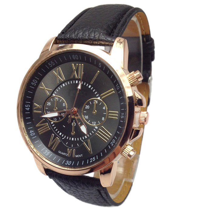 Women Stylish Numerals Faux Leather Analog Quartz Wrist Watches Black