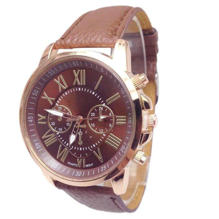Women Stylish Numerals Faux Leather Analog Quartz Wrist Watches Brown