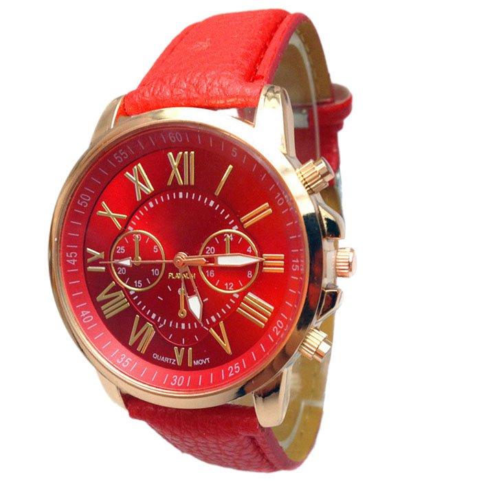 Women Stylish Numerals Faux Leather Analog Quartz Wrist Watches Red