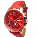 Women Stylish Numerals Faux Leather Analog Quartz Wrist Watches Red