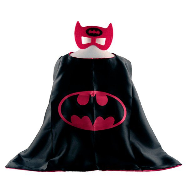 Mask+cape kids superhero capes batman pink costume boys girls for party