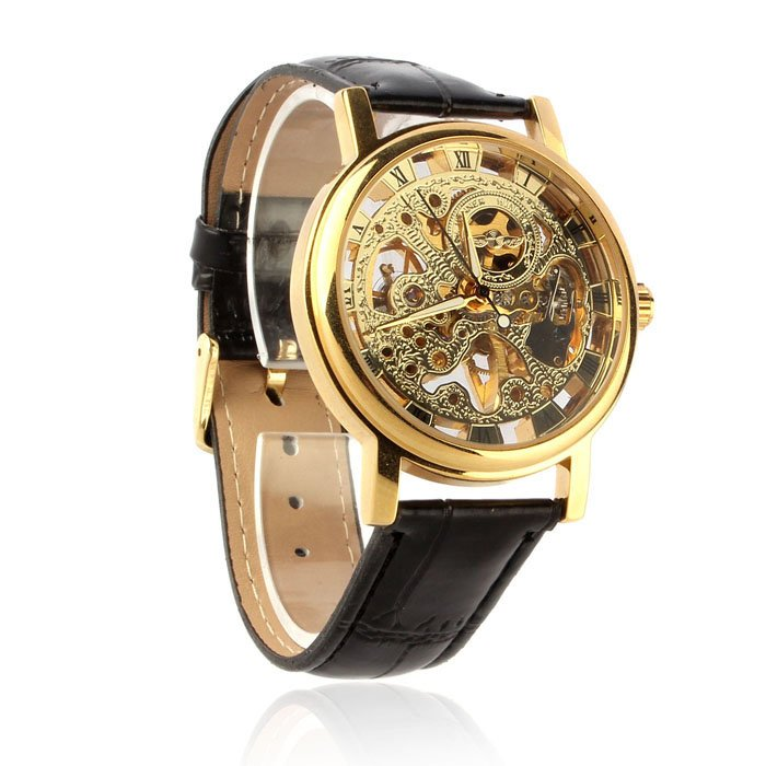 Mens Luxury Mechanical Skeleton Watch Hand Wind Up Leather Strap Wristwatch Gold