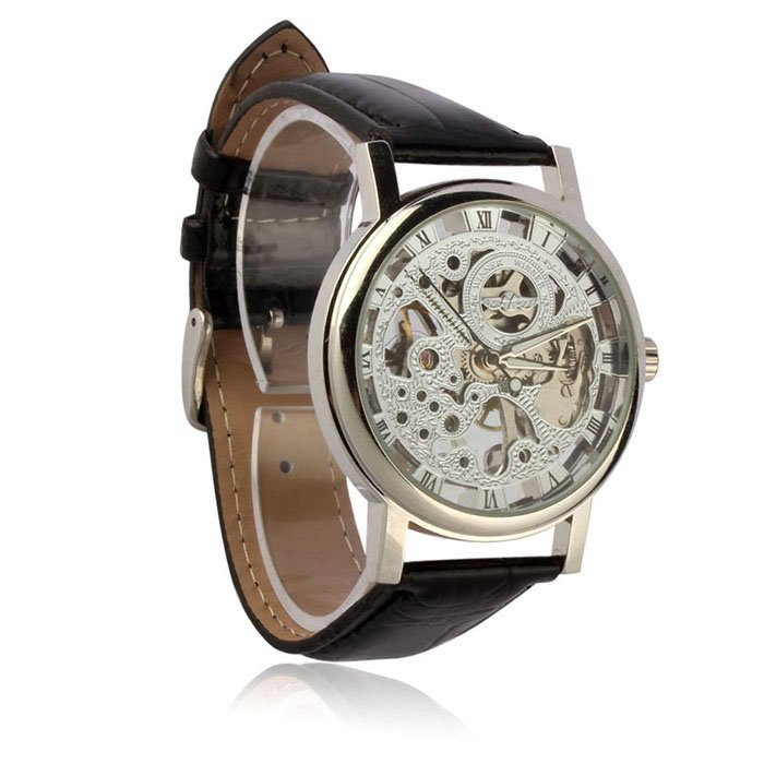 Mens Luxury Mechanical Skeleton Watch Hand Wind Up Leather Strap Wristwatch Silver