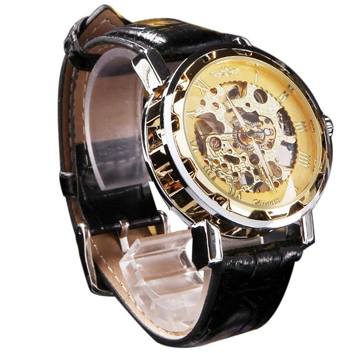 Men's Classic Black Leather Gold Dial Skeleton Mechanical Sport Army Wrist Watch Gold