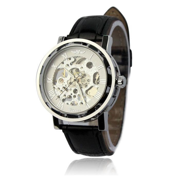 Men's Classic Black Leather Gold Dial Skeleton Mechanical Sport Army Wrist Watch Silver