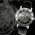 Men's Classic Black Leather Gold Dial Skeleton Mechanical Sport Army Wrist Watch Black Silver
