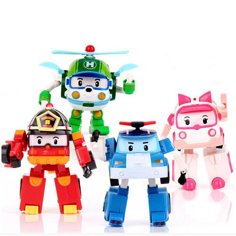 4pcs/Set Korea robot Cars 3 classic plastic Transformers: The Last Knight Toys For Kids