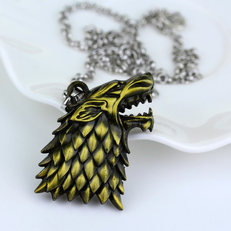 Game of Thrones Winter Is Coming House Stark Necklace Symbol Wolf Head Bronze