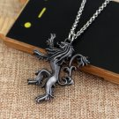 Game of Thrones Hear Me Roar House Lannister Necklace Symbol Attacking Lion Silver