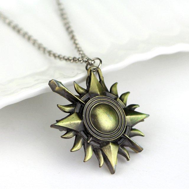 Game of Thrones Unbowed Unbent Unbroken House Martell Necklace Symbol Pierced Sun Bronze