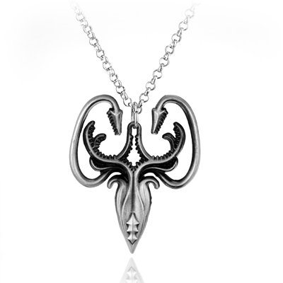 Game of Thrones We Do Not Sow House Greyjoy Necklace Symbol Sea Squid Silver