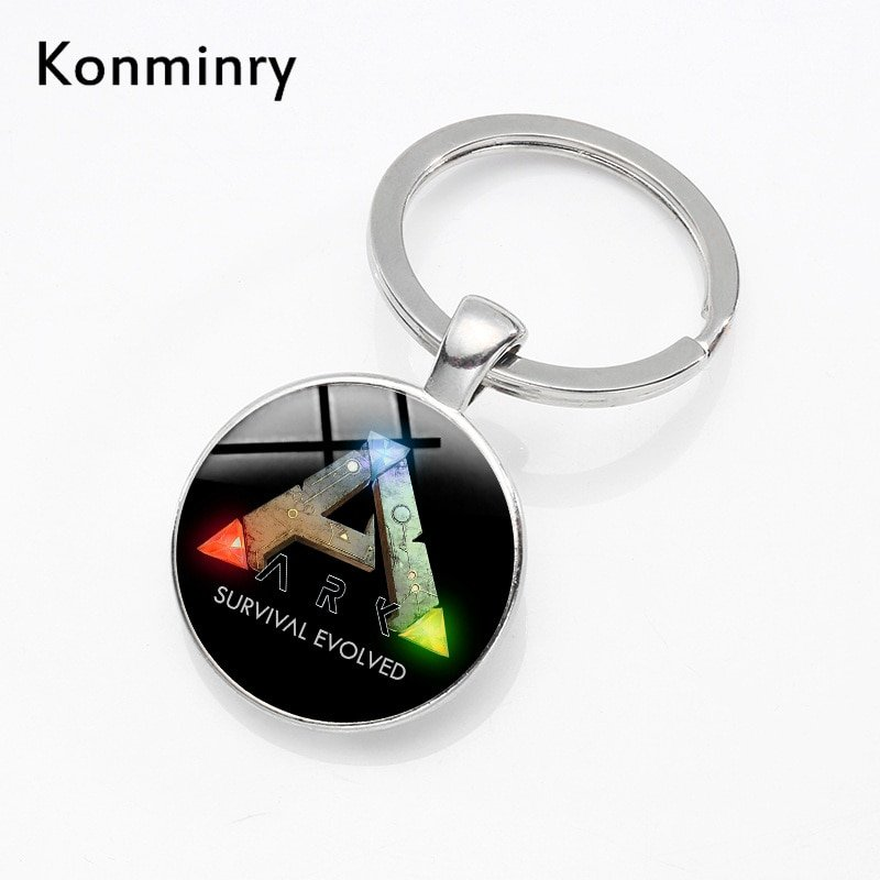 Ark Survival Evolved Key Chain Holder Glass Dome Ark Logo Men Women Keyrings Gift Keychain Game