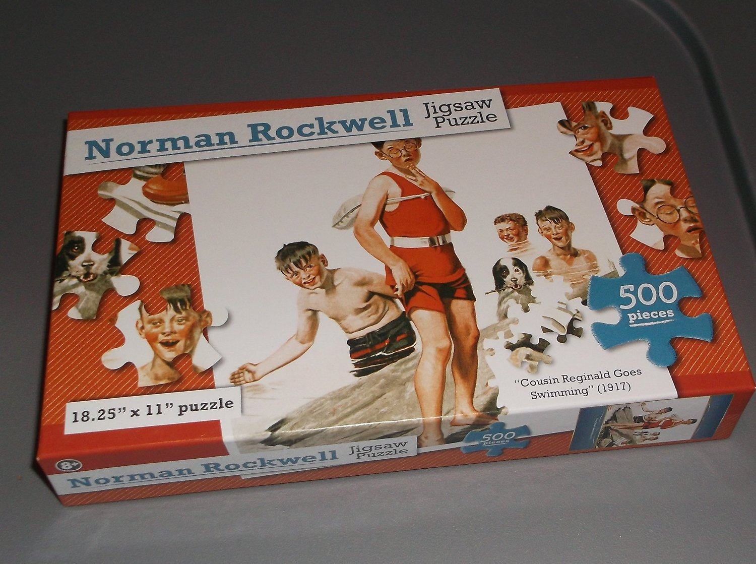 Normal Rockwell Jigsaw Puzzle - Cousin Reginald Goes Swimming - 500 Pieces 18.25 inches x 11 inches