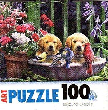 Birds in Bath - 100 Pieces Jigsaw Art Puzzle