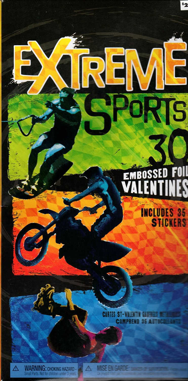 32 Valentines Cards Extreme Sports Embossed Foil Includes 35 Stickers
