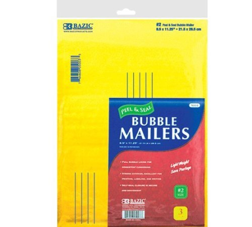 BAZIC (#2) Self Sealing Bubble Mailers, 8.5 x 11.25 Inch, 3 Per Pack
