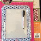 Magnetic Dry Erase Board for your Locker - Navy/Light Blue Flowers by Locker Lookz