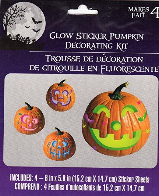 Halloween Glow Pumpkin Decorating Kits- Makes 4