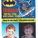 BATMAN Glow in the Dark 20 Temporary Tattoos