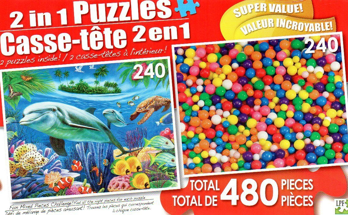 Dolphin / Gumballs - Total 480 Piece 2 in 1 Jigsaw Puzzles