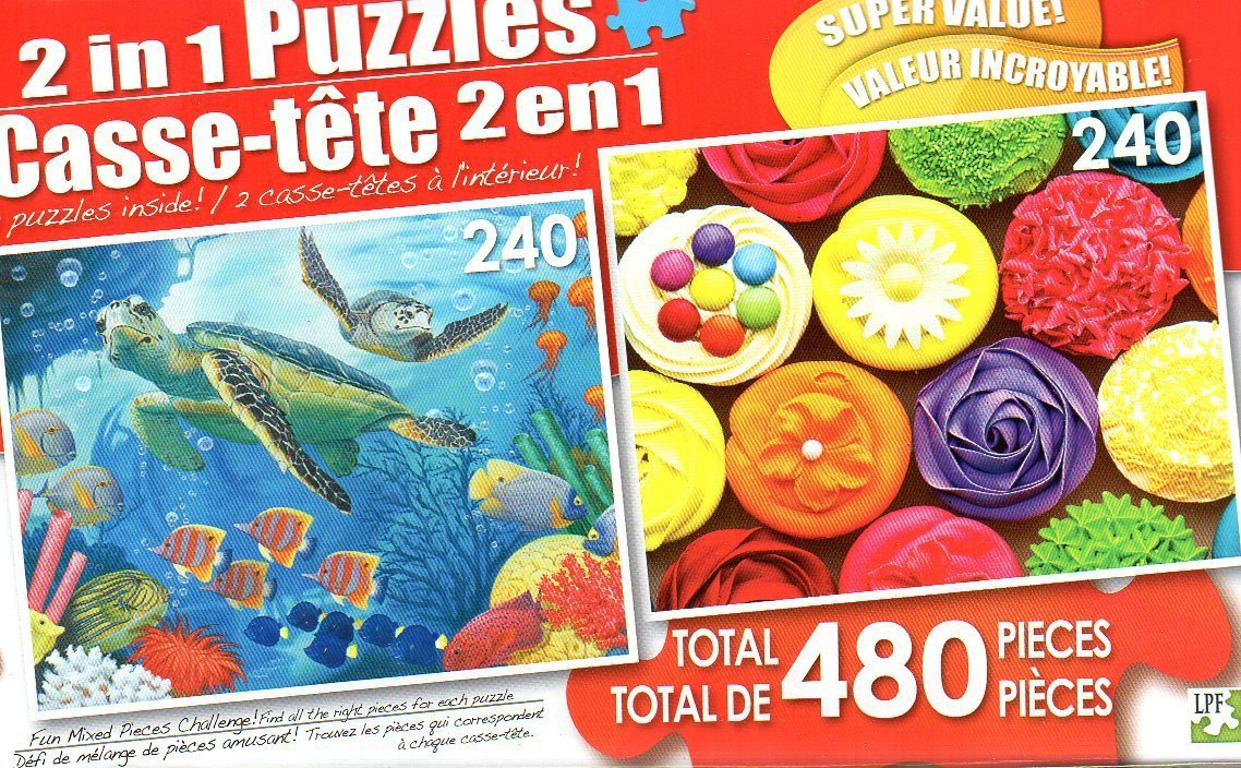 SEA Turtles and Rainbow Cupcakes - Total 480 Piece 2 in 1 Jigsaw Puzzles