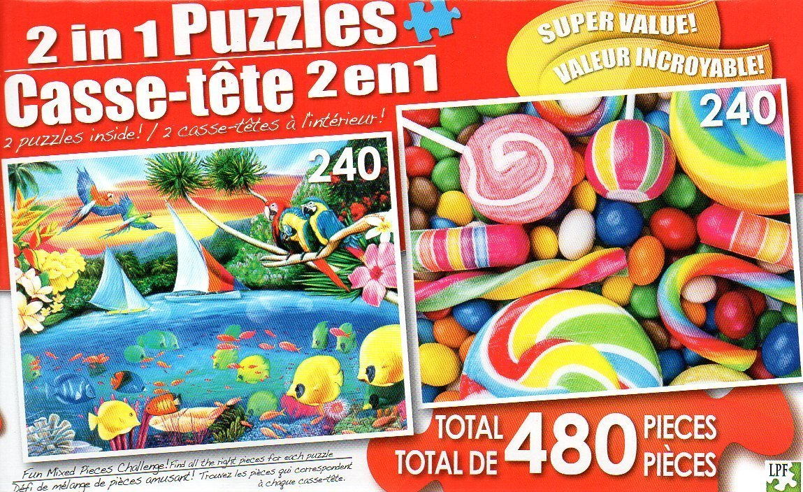 Secret Lagoon and Candy Swirls - Total 480 Piece 2 in 1 Jigsaw Puzzles