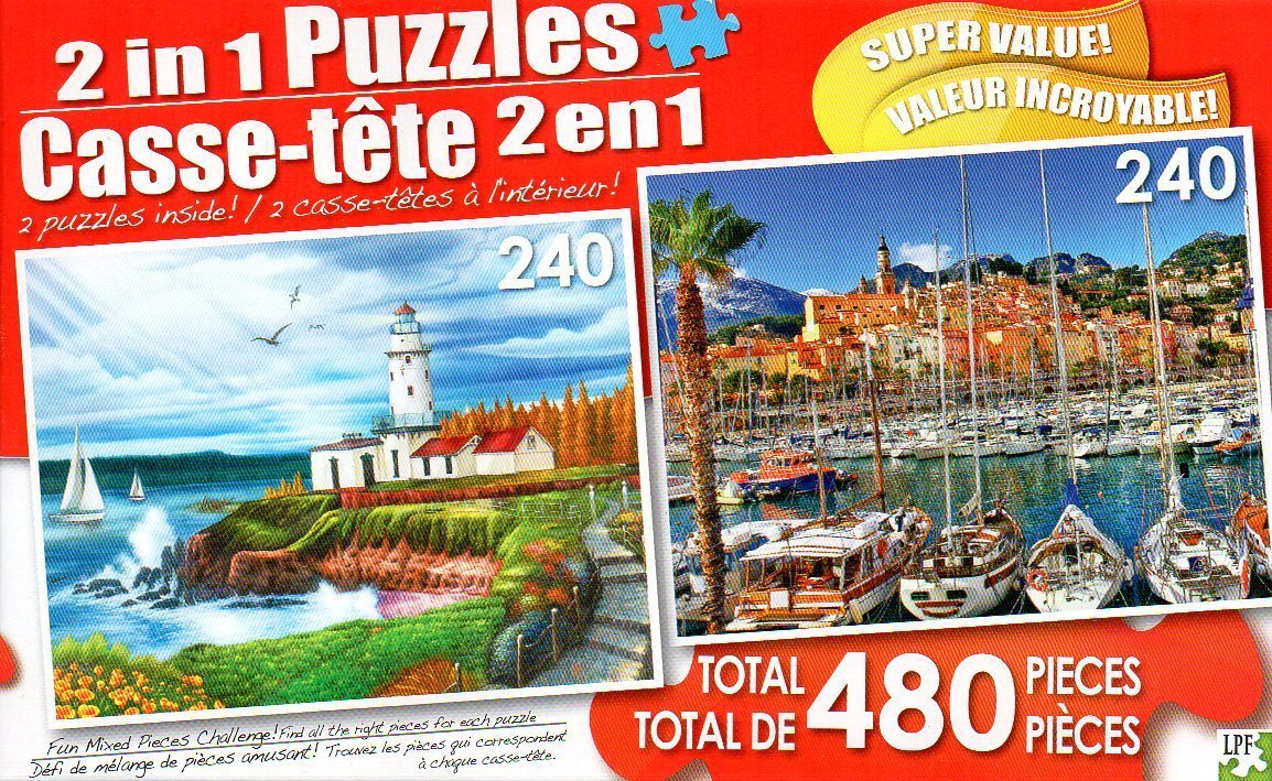 Lighthouse Cove and Colorful Port Town of Menton - Total 480 Piece 2 in 1 Jigsaw Puzzles