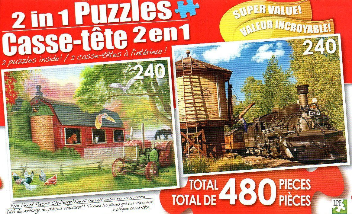 Barnyard Gathering and Water Stop - Total 480 Piece 2 in 1 Jigsaw Puzzles