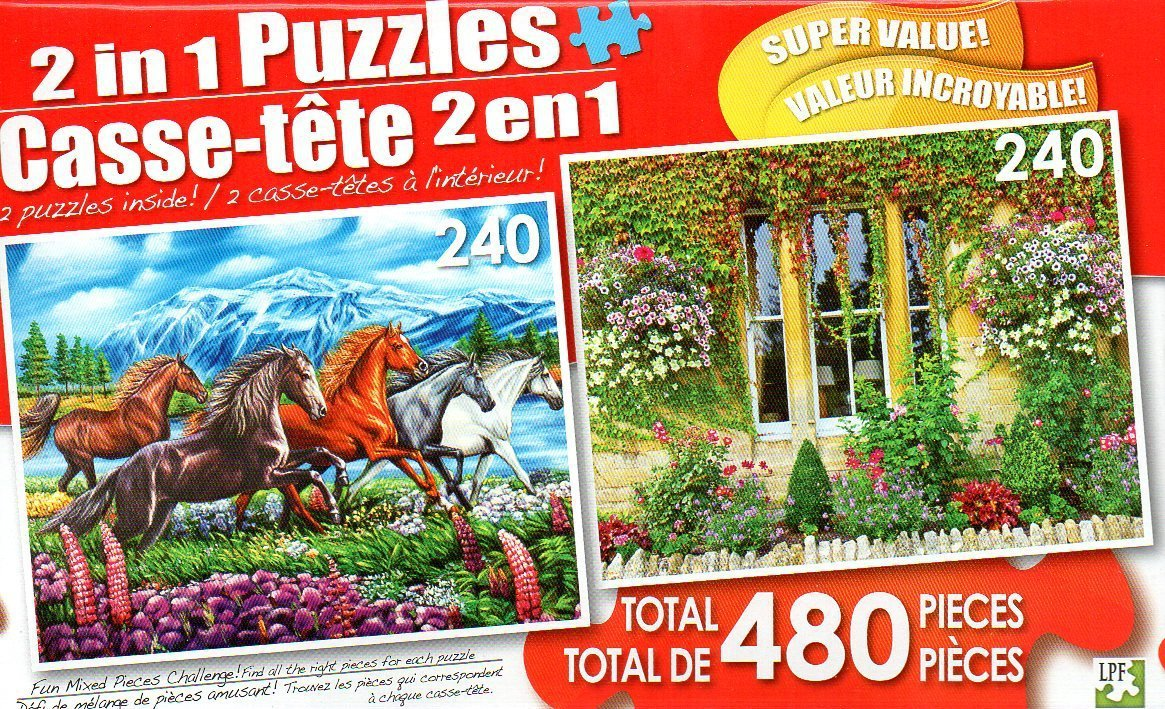 Running Horses and English Village Cottage - Total 480 Piece 2 in 1 Jigsaw Puzzles