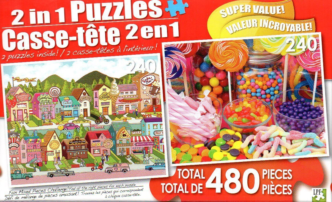 Sweet Tooth Country and Colorful Lollipop Sweets - Total 480 Piece 2 in 1 Jigsaw Puzzles