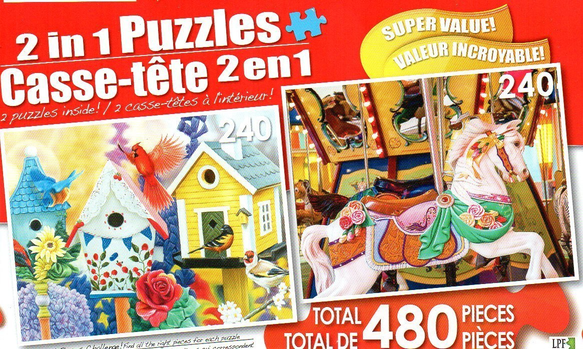Friendly Neighbors Iii & Colorful Wooden Carousel - Total 480 Piece 2 in 1 Jigsaw Puzzles